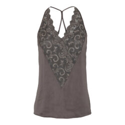 Top – Cassie strap top with lace – Brown Dust – Gustav
